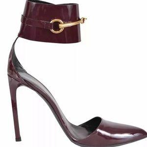 GUCCI Ursula Horsebit Shoes Stilettos Burgundy